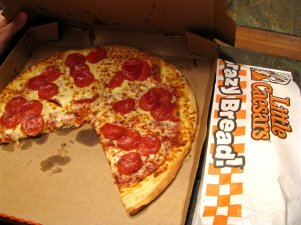 A Pepperoni Pizza From Little Caesars